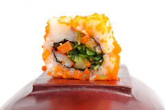 Sushi on wood with whitebackground. Sushi on wood with whitebackground Stock Photography