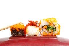 Sushi on wood with whitebackground. Royalty Free Stock Image
