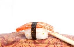 Sushi on wood with whitebackground Royalty Free Stock Images