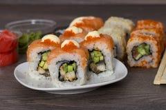 Sushi on wooden background Royalty Free Stock Image