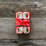Sushi on wooden background Stock Photography