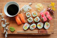 Sushi on wooden desk Royalty Free Stock Images