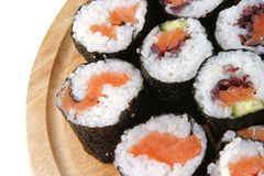 Sushi on wooden plate Stock Photography