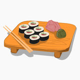 Sushi on the wooden plate. Sushi on the wooden plate  with chopsticks and accessories, cartoon Icon Stock Photos