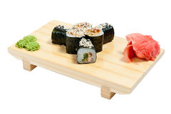 Sushi on wooden stand Royalty Free Stock Images