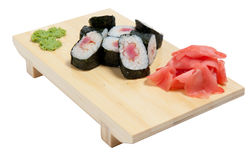 Sushi on wooden stand Royalty Free Stock Photos