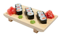 Sushi on wooden stand Stock Photography
