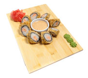 Sushi on wooden stand Royalty Free Stock Image