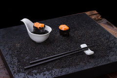 Sushi on wooden table Stock Photos