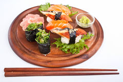 Sushi on a wooden tray Royalty Free Stock Photo