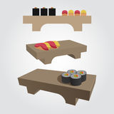 Sushi on a wooden tray Stock Photos