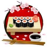 Sushi on wooden tray. Red symbol of Japan and sakura. Chopsticks, wasabi, soy sauce, ginger. Vector clip art illustration Royalty Free Stock Image
