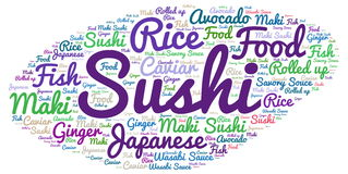 Sushi. Word cloud - isolated on white background Royalty Free Stock Photography