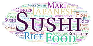 Sushi. Word cloud - isolated on white background Royalty Free Stock Photo