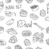 Sushi y fondo del vector de los rollos Gráficos exhaustos de la mano en el fondo blanco Fondo incons?til ilustración del vector