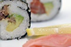 Sushi y jengibre Fotos de archivo