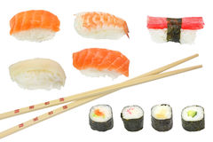 Sushi y maki mezclados Imagen de archivo