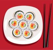 sushi y palillos del vector Imagen de archivo libre de regalías
