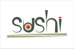 Sushi y palillos verdes de la palabra Imagen de archivo libre de regalías