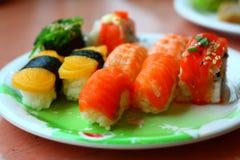 Sushi y rodillos Imagen de archivo libre de regalías