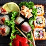 Sushi y rodillos Foto de archivo libre de regalías