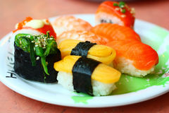 Sushi y rollos Fotografía de archivo libre de regalías