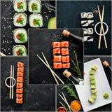 Sushi y Rolls del collage de la foto fotografía de archivo libre de regalías