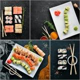 Sushi y Rolls del collage de la foto foto de archivo