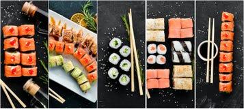 Sushi y Rolls del collage de la foto foto de archivo libre de regalías