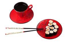 Sushi y té Foto de archivo libre de regalías
