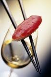 Sushi y vino Imagen de archivo libre de regalías