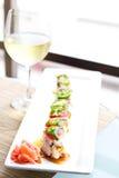 Sushi y vino Fotografía de archivo