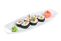 Sushi (Yasai Roll) on a white background Stock Images