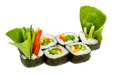 Sushi (Yasai Roll) on a white background Royalty Free Stock Images