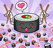 Sushi-Zeichen-Liebe und Essstäbchen Lizenzfreie Stockfotos