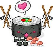 Sushi-Zeichen-Liebe und Essstäbchen Stockbild