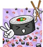 Sushi-Zeichen, welches die Essstäbchen geben Friedenssymbol anhält Stockfoto
