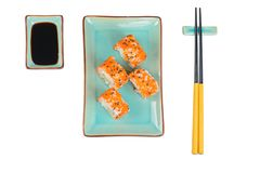 Sushibroodjes met masago Hoogste mening Royalty-vrije Stock Foto's
