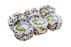 Sushibroodjes met sesamzaden op witte achtergrond worden geïsoleerd die Stock Foto