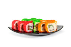 Sushibroodjes op Witte Achtergrond Stock Afbeelding