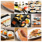 Sushicollage lizenzfreie stockfotos
