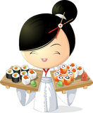 Sushiflicka royaltyfri illustrationer