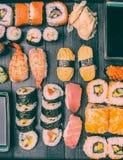 Sushiinställning, bästa sikt som är retro royaltyfria foton
