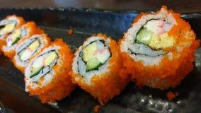 Sushijapanerrollenmenü Stockfoto