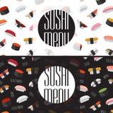 Sushimenydesign Japansk kokkonst för kortdesign för bakgrund white för affisch för ogange för svart fractal för blomma god vektor illustrationer