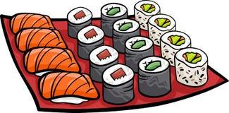 Sushimittagessen-Karikaturillustration Stockfotografie