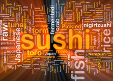Sushinahrungsmittelhintergrund-Konzeptglühen Stockbild