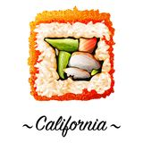 Sushirolle Maki-zushi Kalifornien Stockfotos
