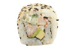 Sushirolle mit dem indischen Sesam lokalisiert auf weißem Hintergrund Lizenzfreies Stockbild