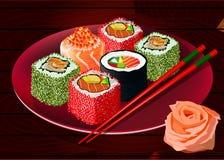 Sushirollen auf roter Platte, Vektor Lizenzfreies Stockfoto